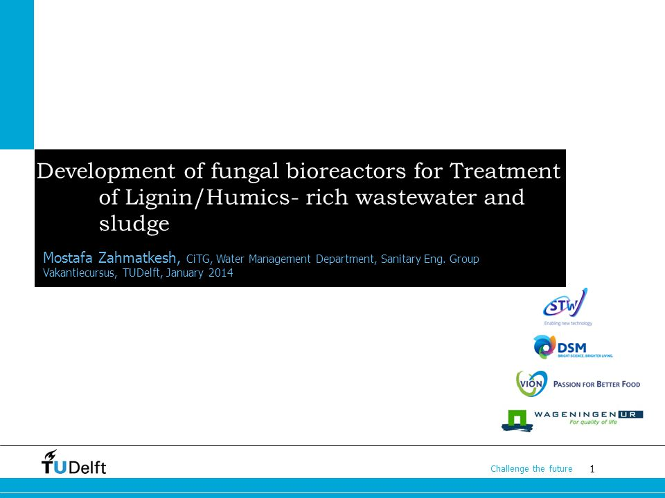 1 Challenge the future Development of fungal bioreactors for Treatment of Lignin/Humics- rich wastewater and sludge Mostafa Zahmatkesh, CiTG, Water Management Department, Sanitary Eng.