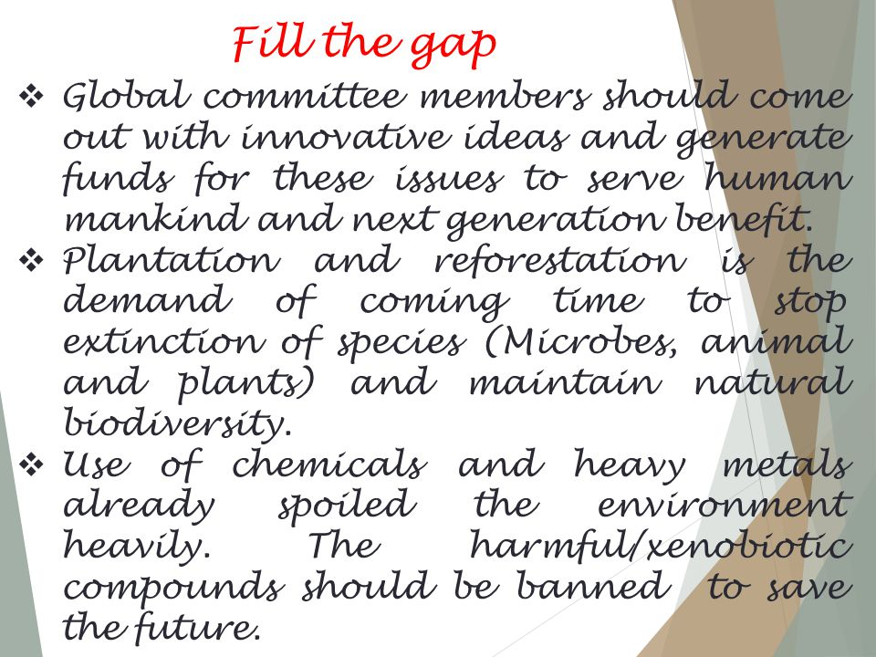 Fill the gap  Global committee members should come out with innovative ideas and generate funds for these issues to serve human mankind and next generation benefit.