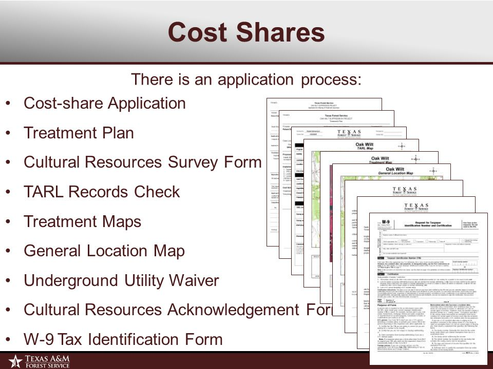 Cost Shares Cost-share Application Treatment Plan Cultural Resources Survey Form TARL Records Check Treatment Maps General Location Map Underground Utility Waiver Cultural Resources Acknowledgement Form W-9 Tax Identification Form There is an application process: