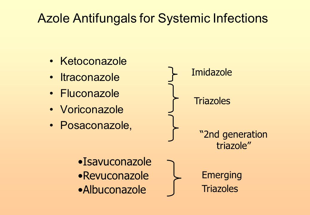 """Azole Antifungals for Systemic Infections Ketoconazole Itraconazole Fluconazole Voriconazole Posaconazole, Imidazole Triazoles """"2nd generation triazol"""