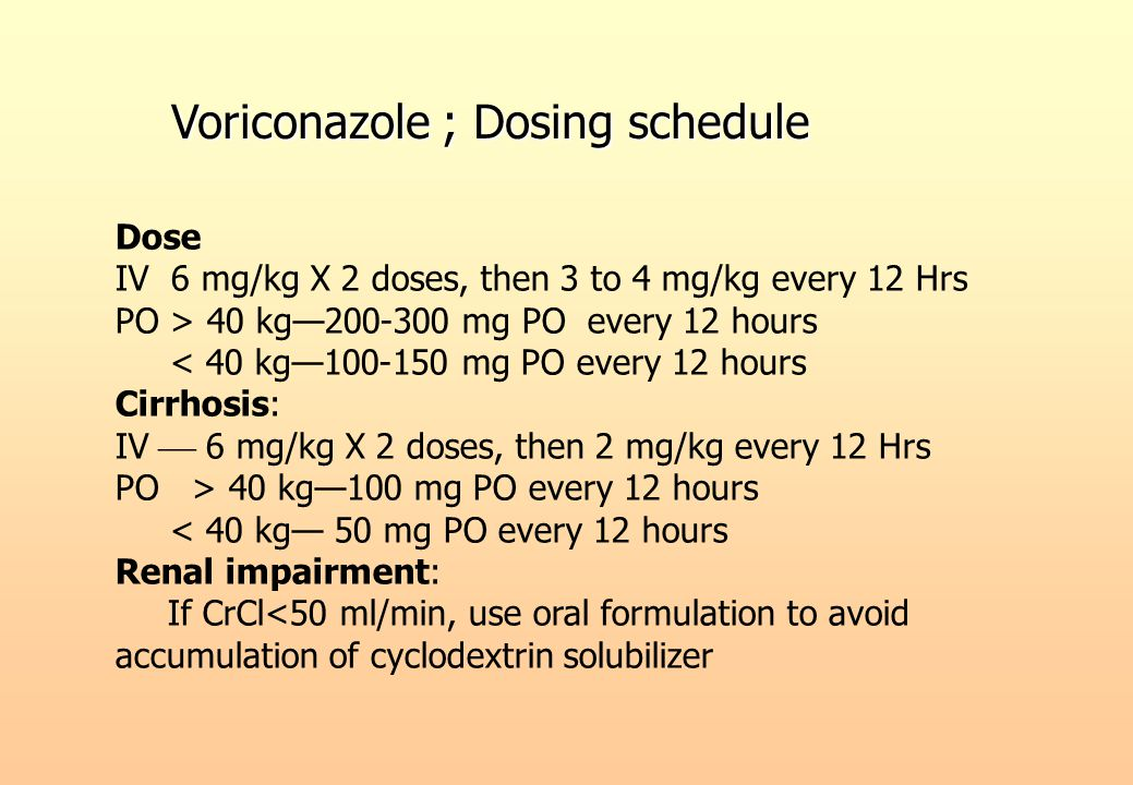 Dose IV 6 mg/kg X 2 doses, then 3 to 4 mg/kg every 12 Hrs PO > 40 kg—200-300 mg PO every 12 hours < 40 kg—100-150 mg PO every 12 hours Cirrhosis: IV 