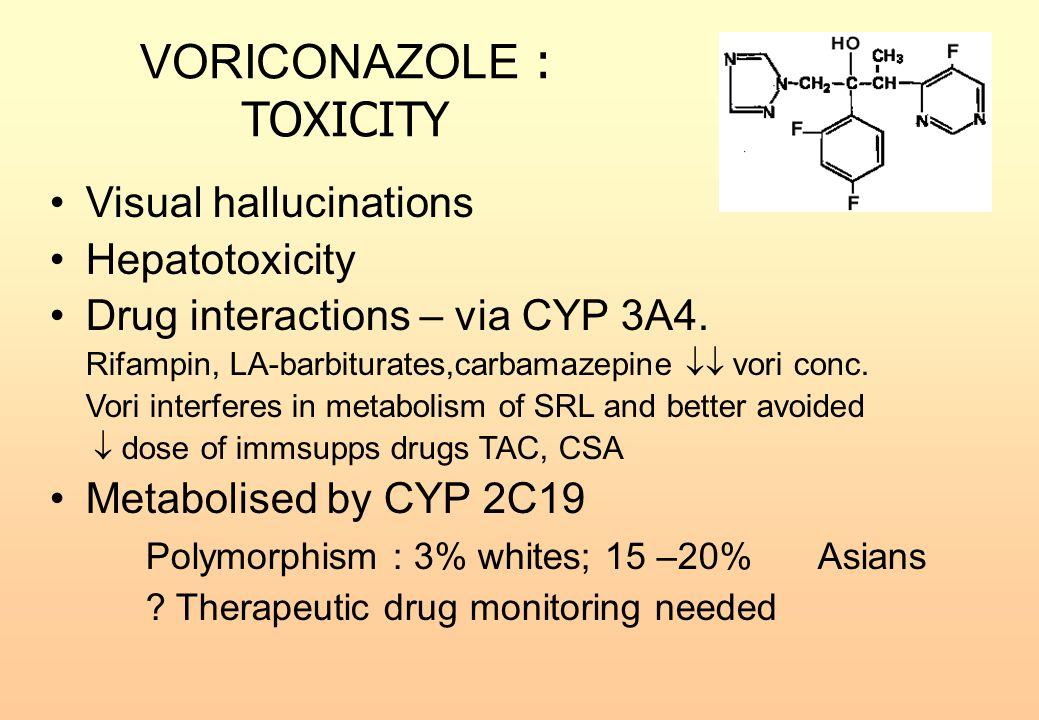 VORICONAZOLE : TOXICITY Visual hallucinations Hepatotoxicity Drug interactions – via CYP 3A4. Rifampin, LA-barbiturates,carbamazepine  vori conc. Vo