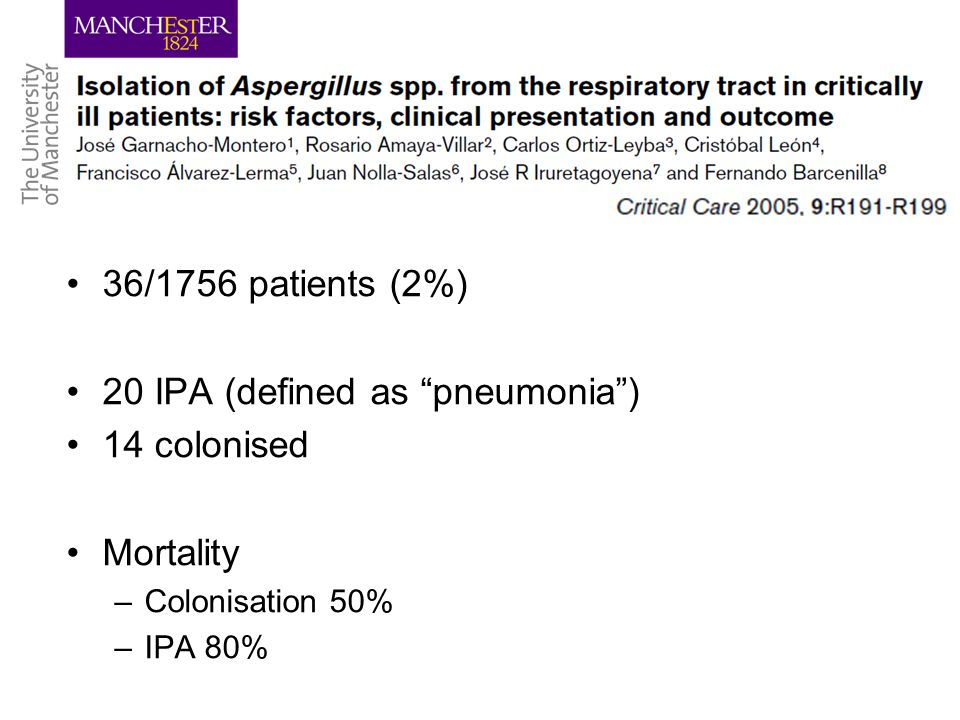 36/1756 patients (2%) 20 IPA (defined as pneumonia ) 14 colonised Mortality –Colonisation 50% –IPA 80%