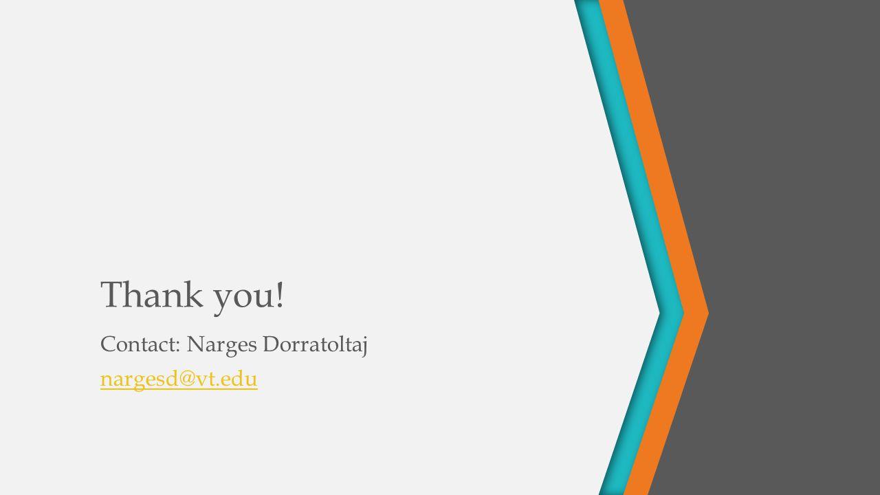 Thank you! Contact: Narges Dorratoltaj nargesd@vt.edu