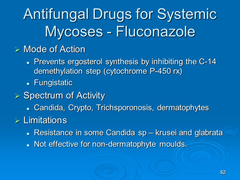 52 Antifungal Drugs for Systemic Mycoses - Fluconazole  Mode of Action Prevents ergosterol synthesis by inhibiting the C-14 demethylation step (cytochrome P-450 rx) Prevents ergosterol synthesis by inhibiting the C-14 demethylation step (cytochrome P-450 rx) Fungistatic Fungistatic  Spectrum of Activity Candida, Crypto, Trichsporonosis, dermatophytes Candida, Crypto, Trichsporonosis, dermatophytes  Limitations Resistance in some Candida sp – krusei and glabrata Resistance in some Candida sp – krusei and glabrata Not effective for non-dermatophyte moulds.