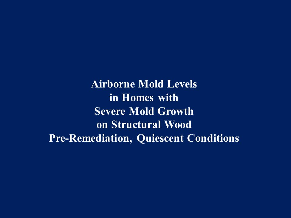 Airborne Mold Levels in Homes with Severe Mold Growth on Structural Wood Pre-Remediation, Quiescent Conditions
