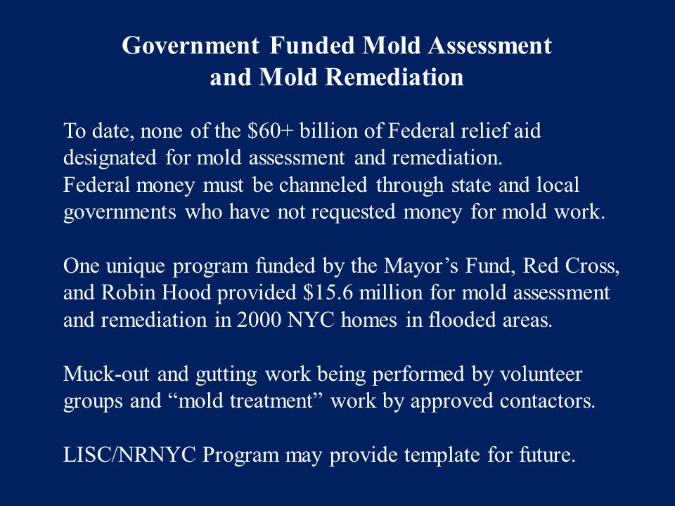 Government Funded Mold Assessment and Mold Remediation To date, none of the $60+ billion of Federal relief aid designated for mold assessment and reme