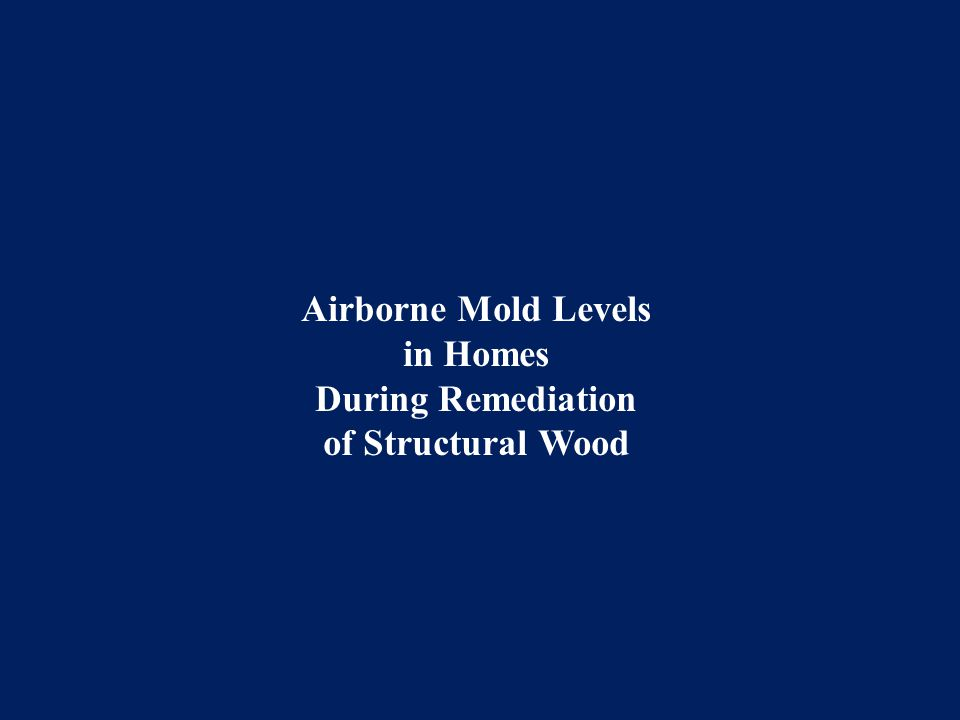 Airborne Mold Levels in Homes During Remediation of Structural Wood
