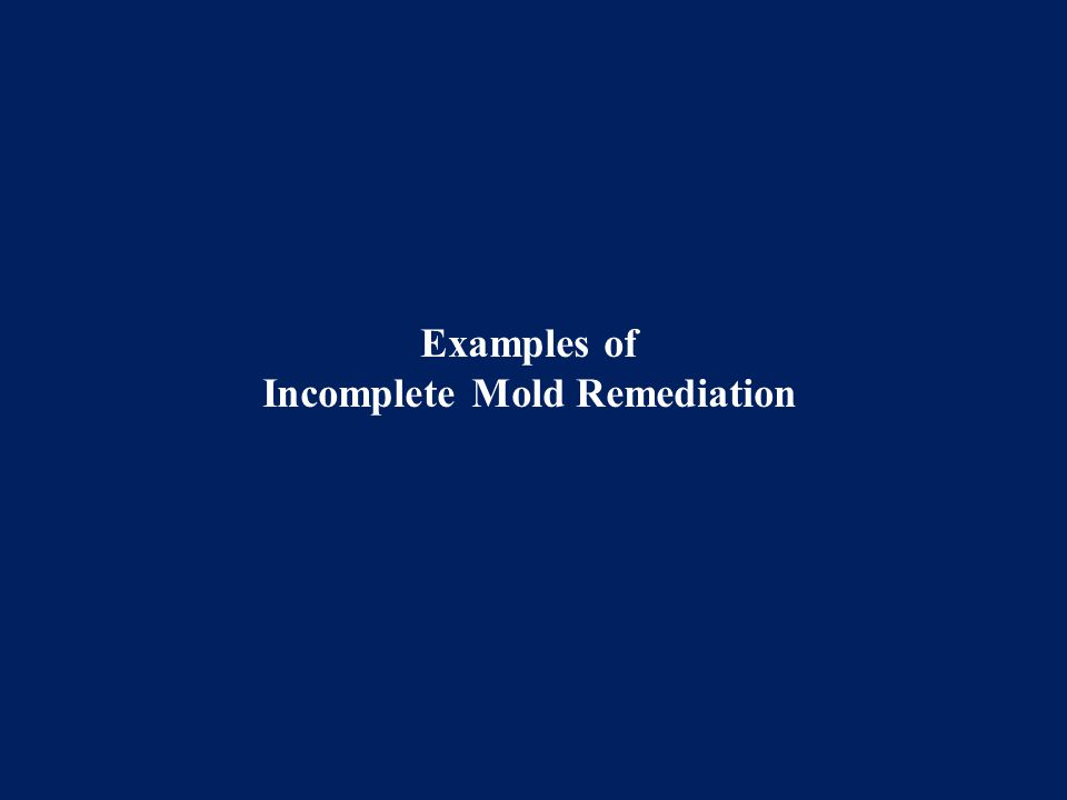 Examples of Incomplete Mold Remediation