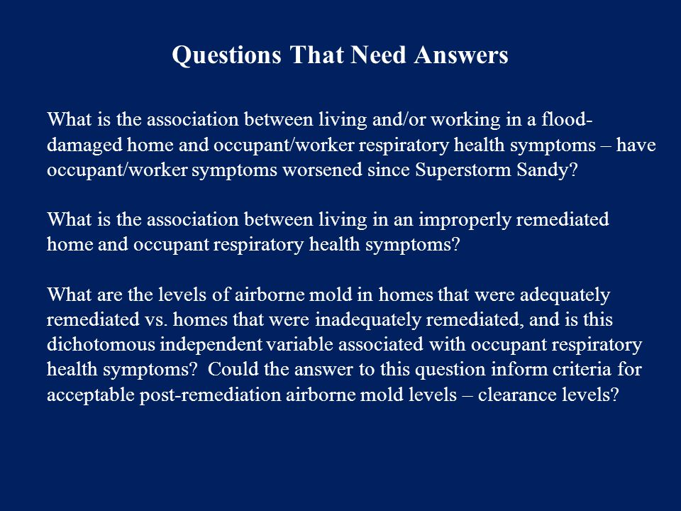 What is the association between living and/or working in a flood- damaged home and occupant/worker respiratory health symptoms – have occupant/worker