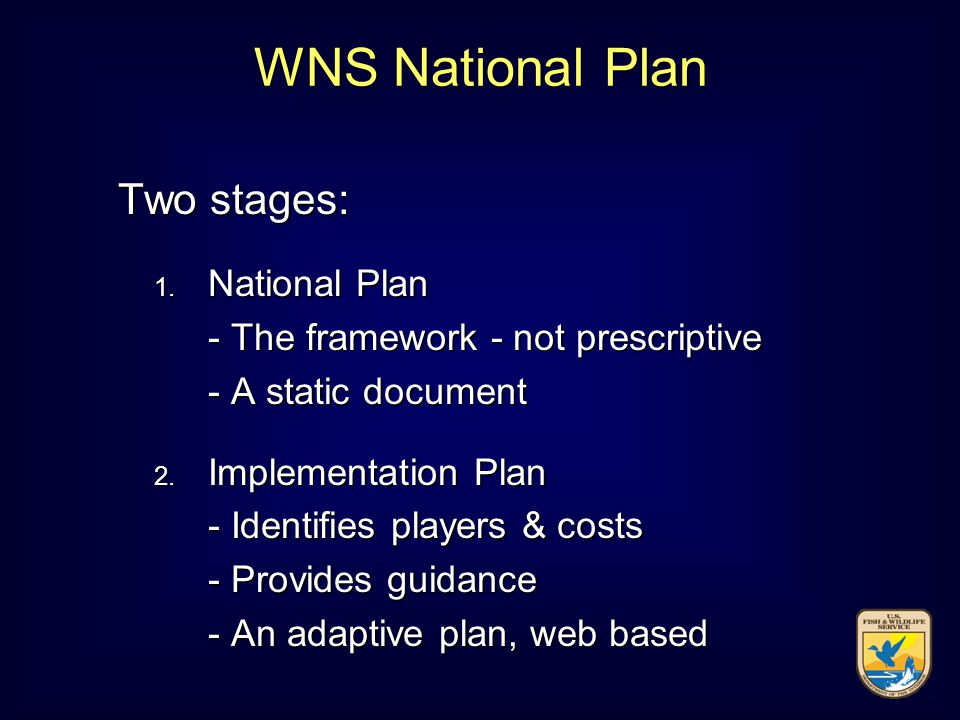 Two stages: Two stages: 1. National Plan - The framework - not prescriptive - A static document 2.