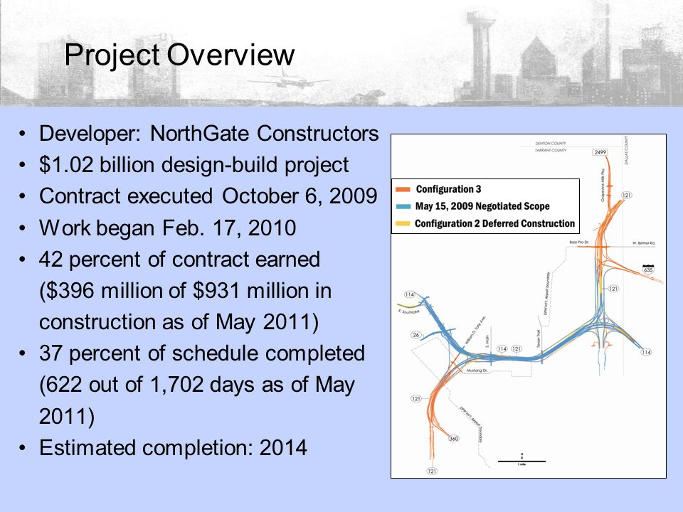Developer: NorthGate Constructors $1.02 billion design-build project Contract executed October 6, 2009 Work began Feb.