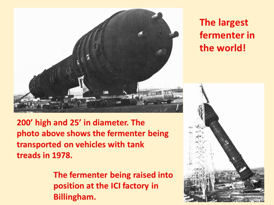 200' high and 25' in diameter. The photo above shows the fermenter being transported on vehicles with tank treads in 1978. The fermenter being raised