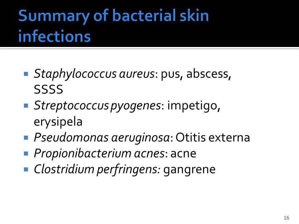  Staphylococcus aureus: pus, abscess, SSSS  Streptococcus pyogenes: impetigo, erysipela  Pseudomonas aeruginosa: Otitis externa  Propionibacterium acnes: acne  Clostridium perfringens: gangrene 16