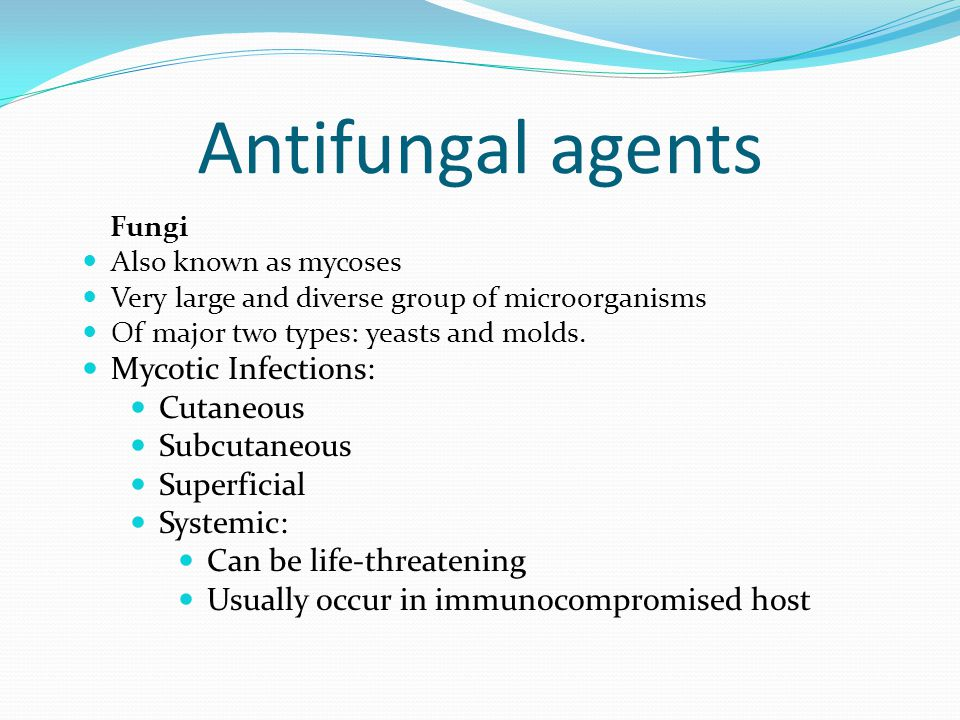 Antifungal agents Fungi Also known as mycoses Very large and diverse group of microorganisms Of major two types: yeasts and molds. Mycotic Infections: