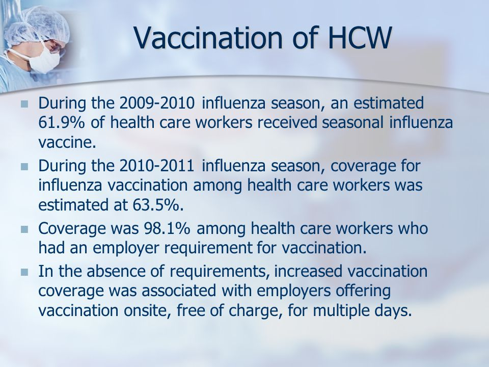 Vaccination of HCW During the 2009-2010 influenza season, an estimated 61.9% of health care workers received seasonal influenza vaccine.