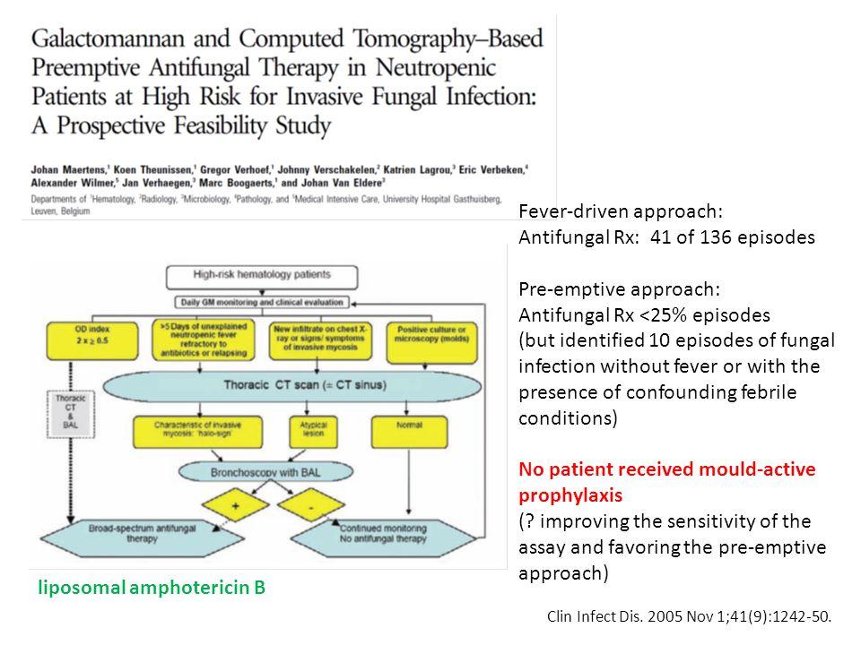 Clin Infect Dis. 2005 Nov 1;41(9):1242-50. liposomal amphotericin B Fever-driven approach: Antifungal Rx: 41 of 136 episodes Pre-emptive approach: Ant