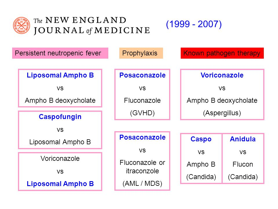 Persistent neutropenic feverProphylaxisKnown pathogen therapy Liposomal Ampho B vs Ampho B deoxycholate Caspofungin vs Liposomal Ampho B Posaconazole