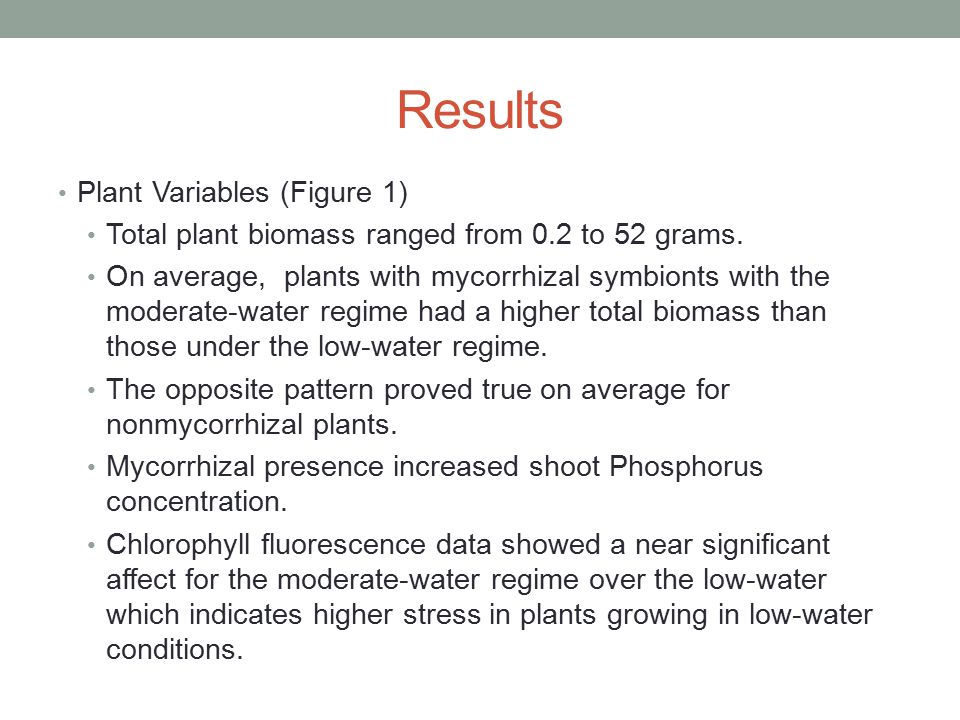 Results Plant Variables (Figure 1) Total plant biomass ranged from 0.2 to 52 grams.