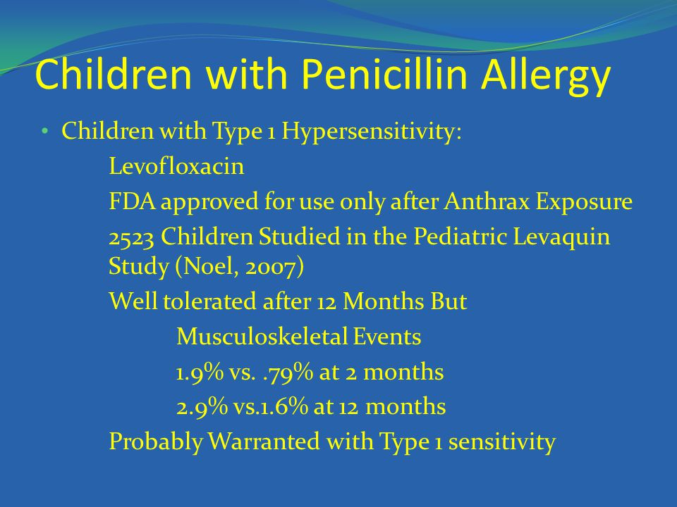 Children with Penicillin Allergy Children with Type 1 Hypersensitivity: Levofloxacin FDA approved for use only after Anthrax Exposure 2523 Children St