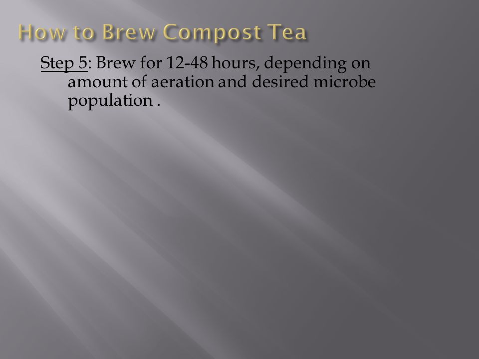 Step 5: Brew for 12-48 hours, depending on amount of aeration and desired microbe population.