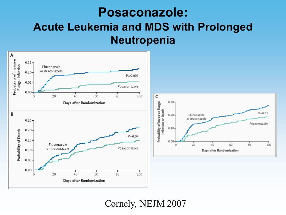 Posaconazole: Acute Leukemia and MDS with Prolonged Neutropenia Cornely, NEJM 2007