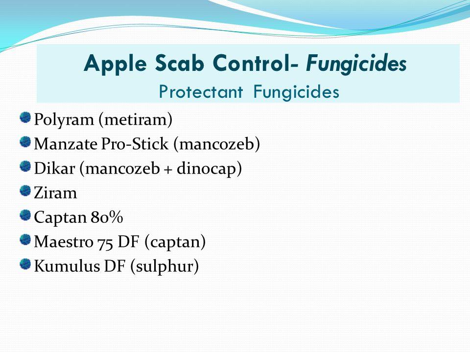 Apple Scab Control- Fungicides Protectant Fungicides Polyram (metiram) Manzate Pro-Stick (mancozeb) Dikar (mancozeb + dinocap) Ziram Captan 80% Maestr