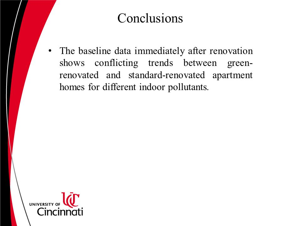 Conclusions The baseline data immediately after renovation shows conflicting trends between green- renovated and standard-renovated apartment homes for different indoor pollutants.