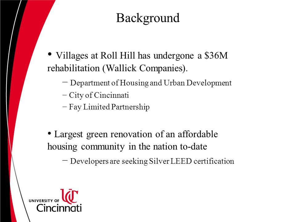 Background Villages at Roll Hill has undergone a $36M rehabilitation (Wallick Companies).