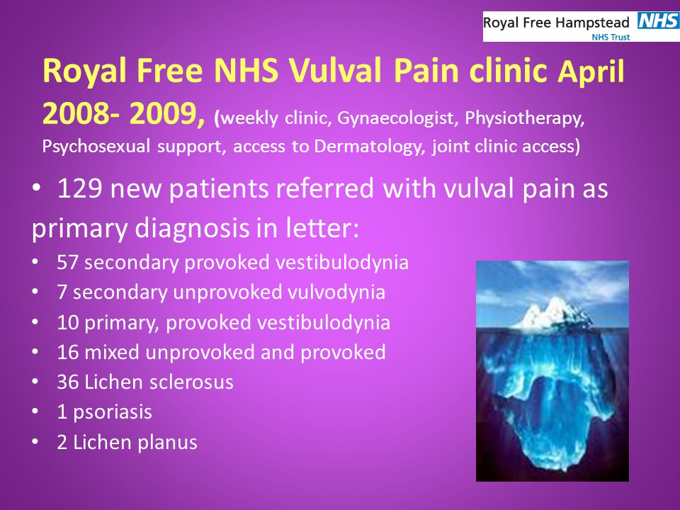 Royal Free NHS Vulval Pain clinic April 2008- 2009, (weekly clinic, Gynaecologist, Physiotherapy, Psychosexual support, access to Dermatology, joint clinic access) 129 new patients referred with vulval pain as primary diagnosis in letter: 57 secondary provoked vestibulodynia 7 secondary unprovoked vulvodynia 10 primary, provoked vestibulodynia 16 mixed unprovoked and provoked 36 Lichen sclerosus 1 psoriasis 2 Lichen planus
