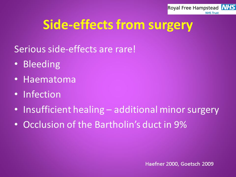 Side-effects from surgery Serious side-effects are rare.