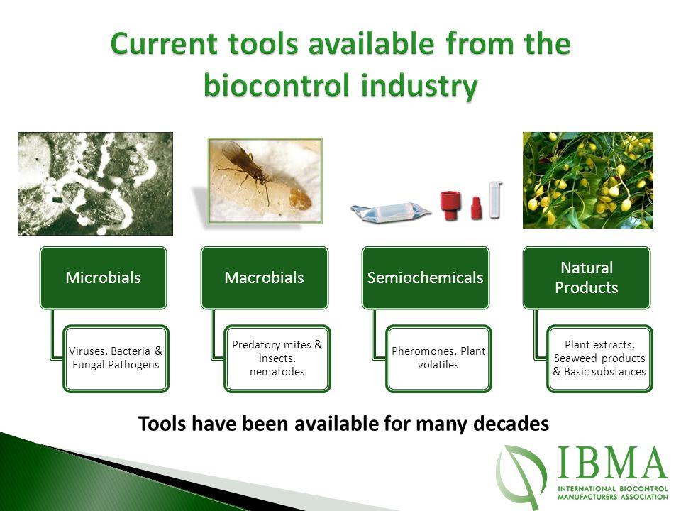 Microbials Viruses, Bacteria & Fungal Pathogens Macrobials Predatory mites & insects, nematodes Semiochemicals Pheromones, Plant volatiles Natural Pro