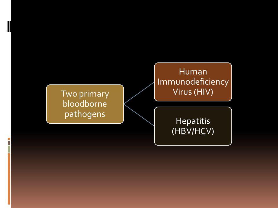 Two primary bloodborne pathogens Human Immunodeficiency Virus (HIV) Hepatitis (HBV/HCV)