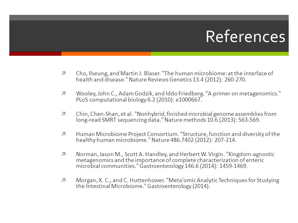 References  Cho, Ilseung, and Martin J. Blaser.