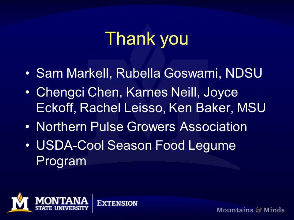 Thank you Sam Markell, Rubella Goswami, NDSU Chengci Chen, Karnes Neill, Joyce Eckoff, Rachel Leisso, Ken Baker, MSU Northern Pulse Growers Association USDA-Cool Season Food Legume Program
