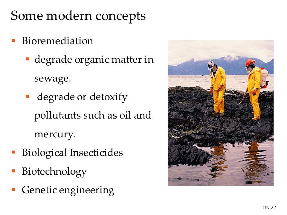 Some modern concepts  Bioremediation  degrade organic matter in sewage.