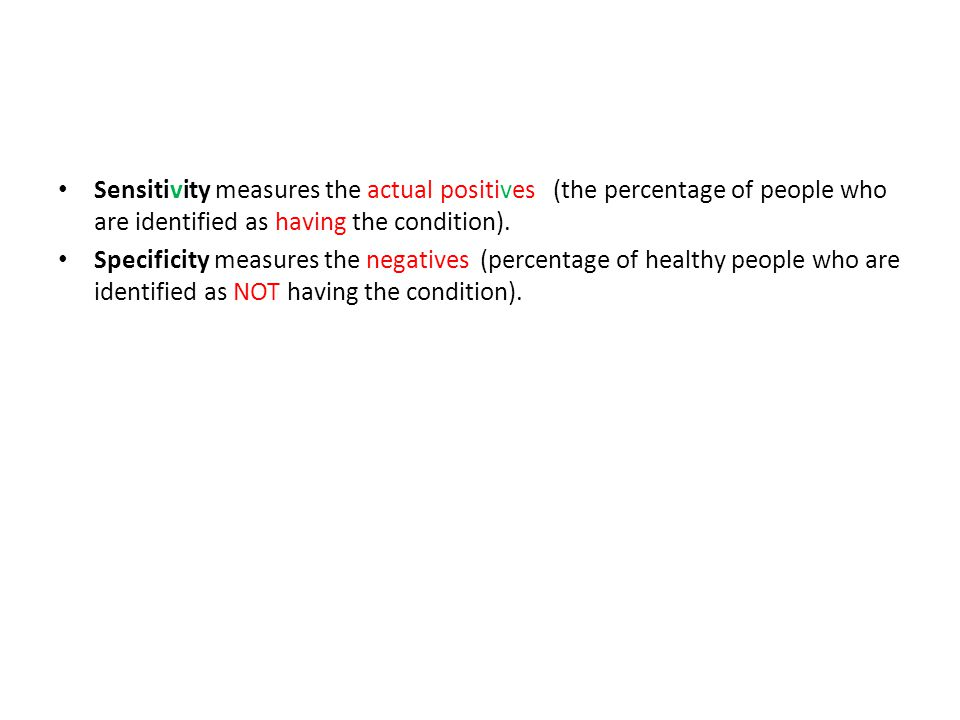 Sensitivity measures the actual positives (the percentage of people who are identified as having the condition). Specificity measures the negatives (p