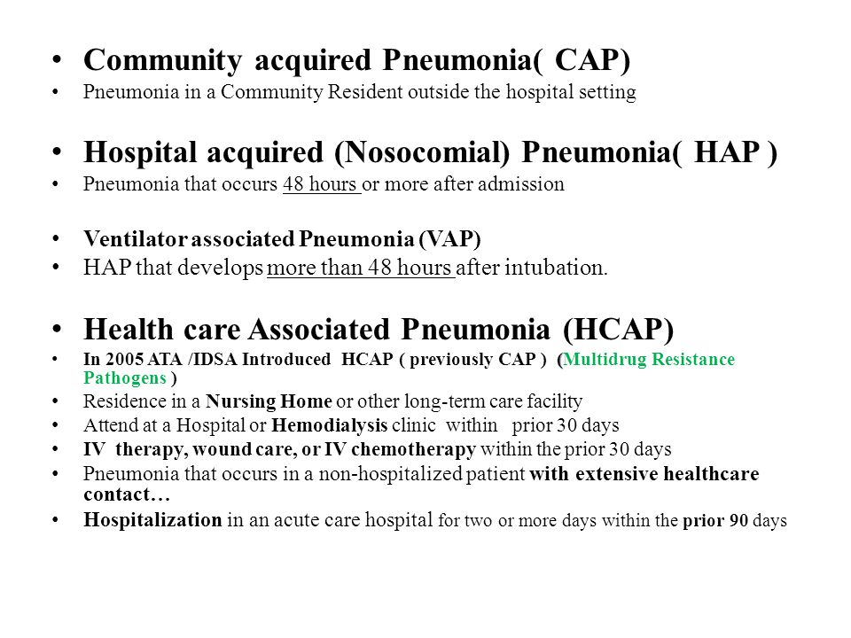 Community Acquired Pneumonia Pneumonia is a lower respiratory infection involving the lungs especially affecting the Alveoli characterized by filling of the alveolar space with inflammatory cells and fluids ….