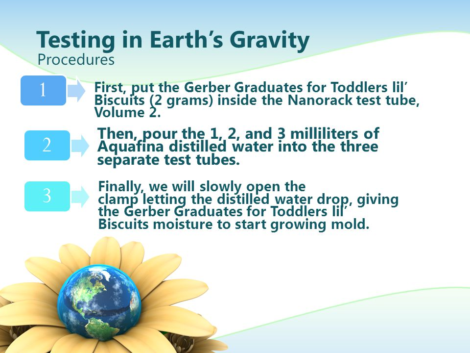 Testing in Earth's Gravity Procedures 123 First, put the Gerber Graduates for Toddlers lil' Biscuits (2 grams) inside the Nanorack test tube, Volume 2