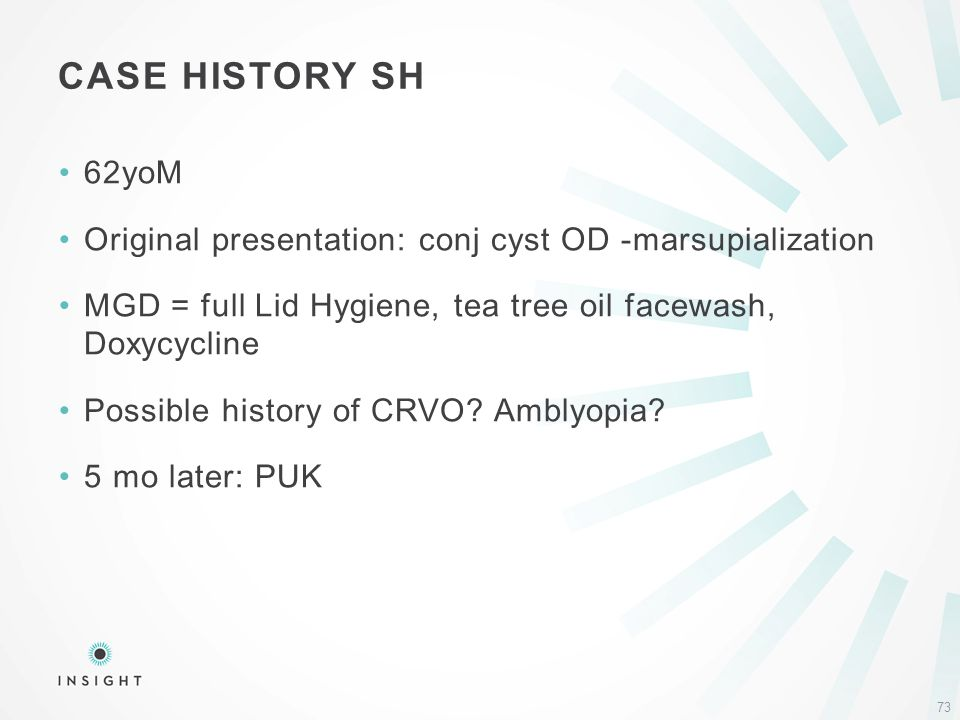 62yoM Original presentation: conj cyst OD -marsupialization MGD = full Lid Hygiene, tea tree oil facewash, Doxycycline Possible history of CRVO.