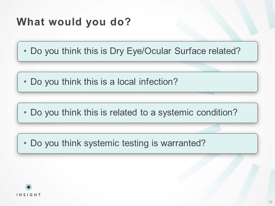 What would you do. 78 Do you think this is Dry Eye/Ocular Surface related.