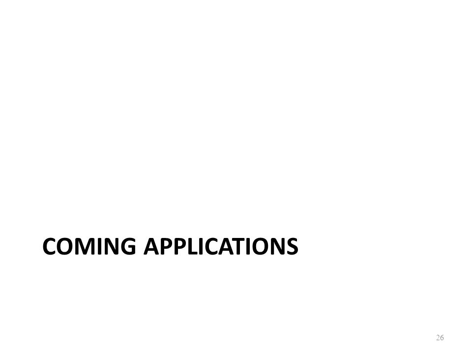 COMING APPLICATIONS 26