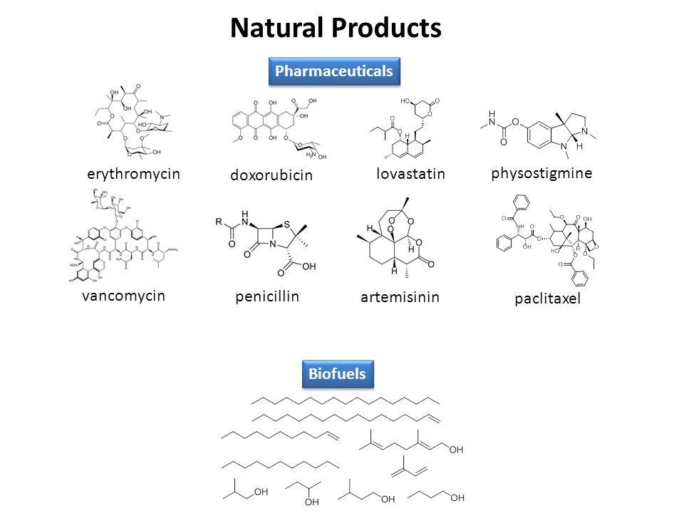 Natural Products doxorubicin erythromycin vancomycin penicillin artemisinin lovastatin paclitaxel Pharmaceuticals Biofuels physostigmine