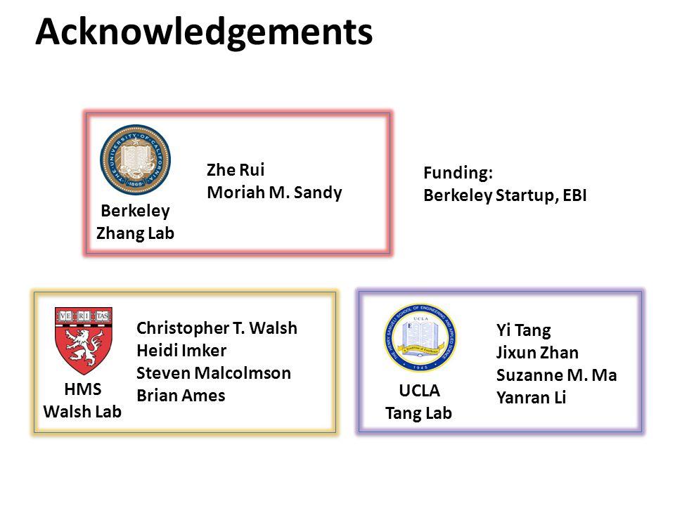 Acknowledgements HMS Walsh Lab Christopher T. Walsh Heidi Imker Steven Malcolmson Brian Ames Yi Tang Jixun Zhan Suzanne M. Ma Yanran Li UCLA Tang Lab