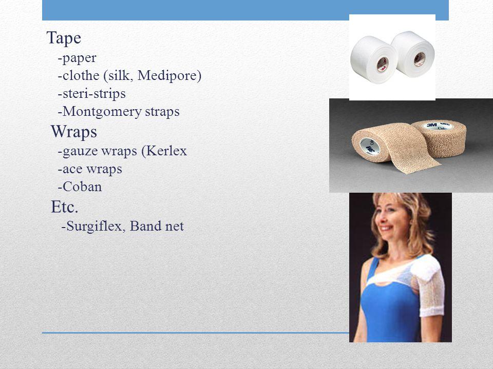 Tape -paper -clothe (silk, Medipore) -steri-strips -Montgomery straps Wraps -gauze wraps (Kerlex -ace wraps -Coban Etc.