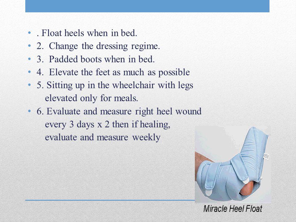 Float heels when in bed. 2. Change the dressing regime.
