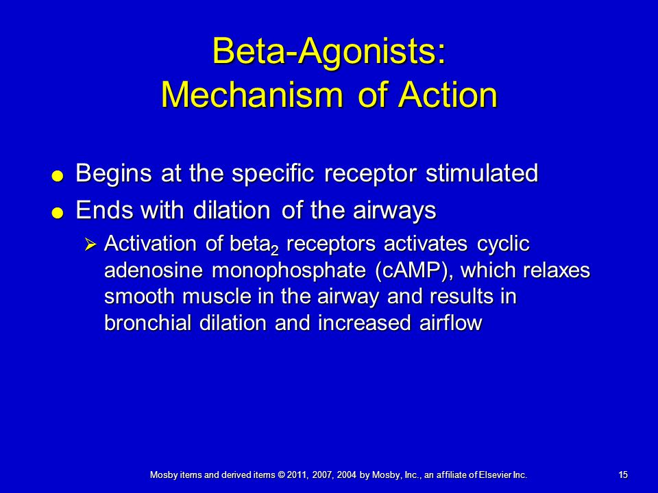 15 Mosby items and derived items © 2011, 2007, 2004 by Mosby, Inc., an affiliate of Elsevier Inc. Beta-Agonists: Mechanism of Action  Begins at the s