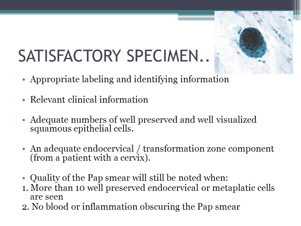 PAP SMEAR NEGATIVE FOR MALIGNANT CELL SPECIFIC MICROORGANISM TREAT ANY INFECTION NORMAL ROUTINE SCREENING REPEAT PAP SMEAR 6/12
