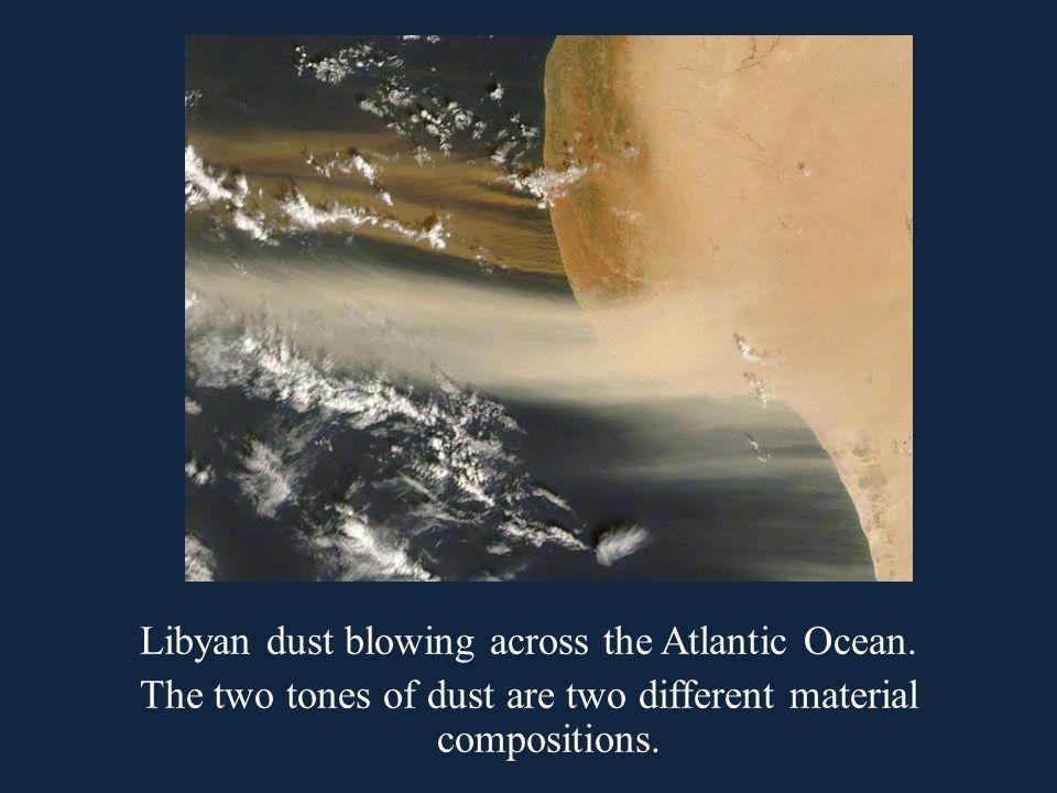 Libyan dust blowing across the Atlantic Ocean.