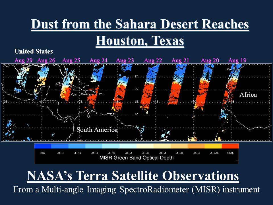 Africa South America United States Aug 29 Aug 26 Aug 25 Aug 24 Aug 23 Aug 22 Aug 21 Aug 20 Aug 19 NASA's Terra Satellite Observations From a Multi-angle Imaging SpectroRadiometer (MISR) instrument Dust from the Sahara Desert Reaches Houston, Texas